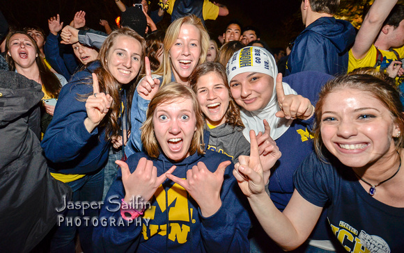 Student Celebration After Michigan Beat Syracuse to reach the 2013 Final Four