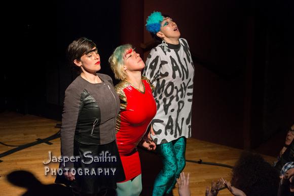 "Abigail Nessen-Bengson, Merrill Garbus, and Jo Lampert during ""sink-o"""